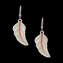 Two Tone Copper No Dream Is Too Small Feather Earrings  (ER2317SC)