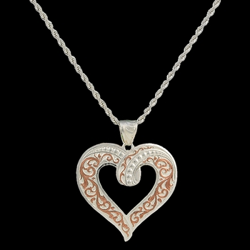 Two Tone Copper Ribbon Heart Necklace (NC2208SC)