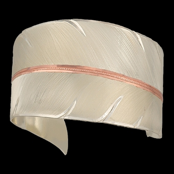 Two Tone Copper To Fly with Strength and Grace Feather Cuff Bracelet (BC2319SC)