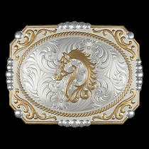 Two-tone Cowboy Cameo Buckle with Filigree Horse Figure (25815-909)