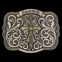 Two Tone Faith Cross Traditional Attitude Buckle (A437)