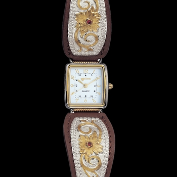 Two Tone Flower Filigree Ladies Brown Leather Band Watch (WCH820)