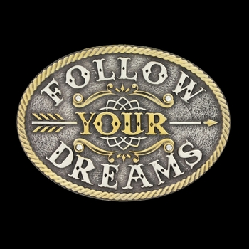 Two Tone Follow Your Dreams Kids Attitude Buckle (A605S)