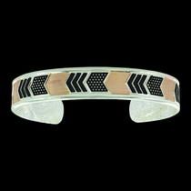 Two Tone Layered Chevrons Cuff Bracelet (BC3501RG)