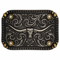 Two-Tone Longhorn Traditional Attitude Buckle (A409)