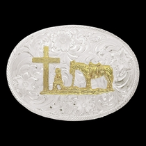 Two Tone Montana Classic Belt Buckle with Etched Trim and Christian Cowboy  (1845G-731)