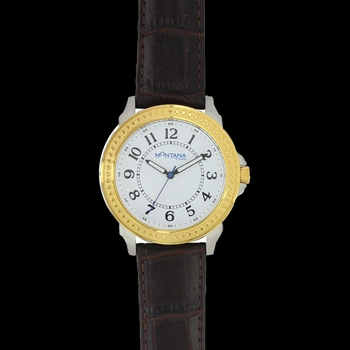 Two Tone Montana Quartered Leather Watch (WCH3363)