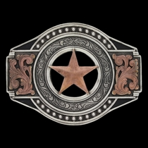 Two Tone Open Texas Ranger Star Attitude Buckle (A571)