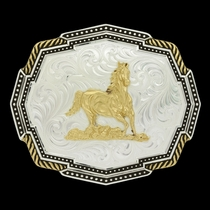 Two Tone Polygon Roped Corners Buckle with Running Horse (32410-463)
