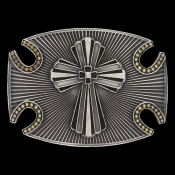 Two tone Radiating Fluted Cross Attitude Buckle (A517)