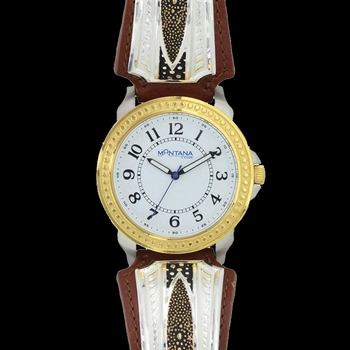 Two Tone River Pebbles Leather Band Watch (WCH28YG)