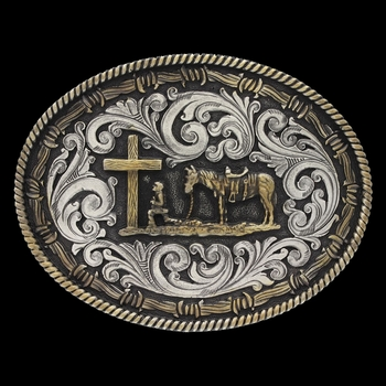 Two tone Rope & Barbed Wire Classic Impressions Christian Cowboy Attitude Buckle (A543)
