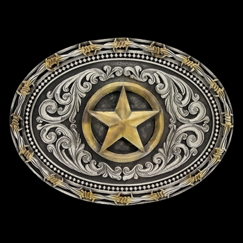 Two tone Rope & Barbed Wire Classic Impressions Lone Star Attitude Buckle (A530)