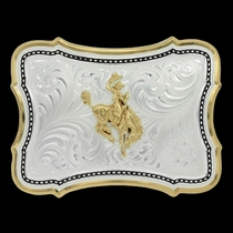 Two Tone Scalloped Point Buckle with Ranch Bucking Horse (30910-593)