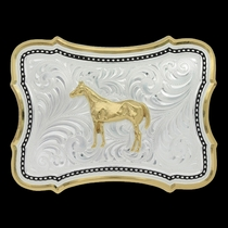 Two Tone Scalloped Point Buckle with Standing Horse (30910-163)
