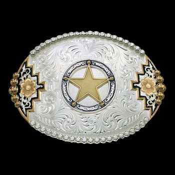 Two-tone Southwestern Accent Belt Buckle with Round Star Concho (61668-100968)