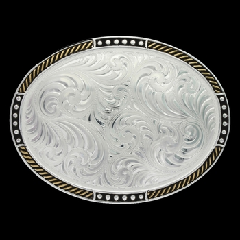 Two Tone Stop Ties Oval Belt Buckle (6106NF)