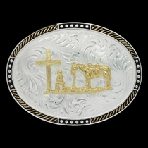 Two Tone Stop Ties Oval Belt Buckle with Christian Cowboy (6106-731)