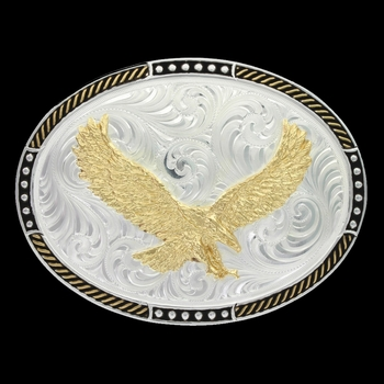 Two Tone Stop Ties Oval Belt Buckle with Soaring Eagle (6106-597)