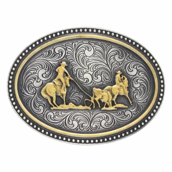 Two-Tone Studded Classic Attitude Buckle with Team Ropers  (A478)