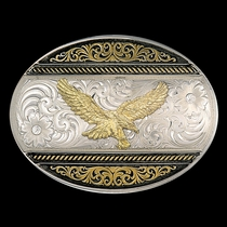 Two Tone Western Deco Oval Buckle with Golden Eagle (6140-696)