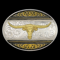 Two Tone Western Deco Oval Buckle with Large Longhorn (6140-767)