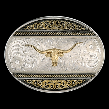 Two Tone Western Deco Oval Buckle with Longhorn  (6140-771)