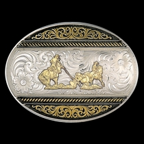 Two Tone Western Deco Oval Buckle with Team Ropers (6140-857)