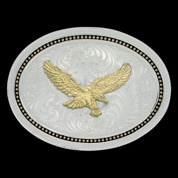 Two Tone Wheat and Golden Star Light Oval Buckle with Golden Eagle (6105-696)
