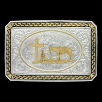 Two Tone Wheat Trim Portrait Buckle with Christian Cowboy (27200-731)