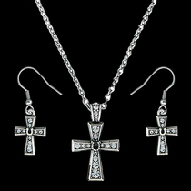 Vintage Charm Horseshoe Cross Jewelry Set (JS1351)