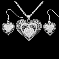 Vintage Charm Our Prairie Mothers Heart Jewelry Set (JS1319CZ)
