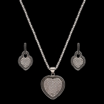 Vintage Charm Quilted Heart Jewelry Set (JS2232)