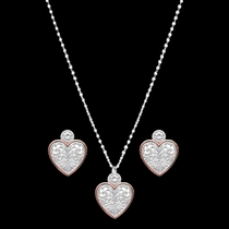 Western Lace Copper Trimmed Classic Heart Jewelry Set (JS2622SC)