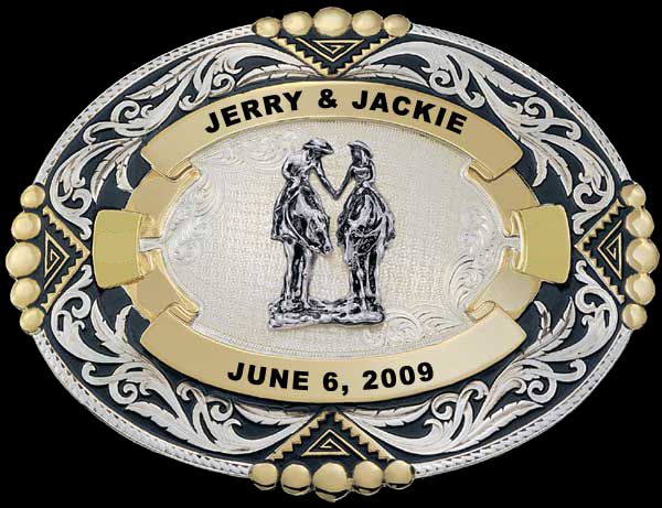 Western Wedding Belt Buckle By Montana Silversmiths