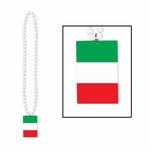 Beads w/Printed Italian Flag Medallion 36""