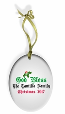God Bless Our Italian Home Holiday Color Glass Christmas Ornament