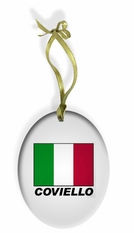 Personalized Italian Flag Holiday Color Glass Christmas Ornament