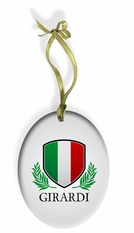 Personalized Italian Shield Holiday Color Glass Christmas Ornament
