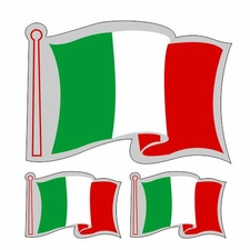 3 Italian Flags Decal