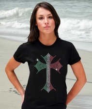 Rhinestone Italian Cross Shirt