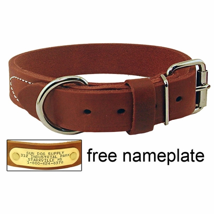 1 1/4 in. Gun Dog Deluxe Leather Standard Dog Collar - #RTEN114