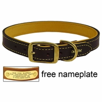 buy discount  1 in. Deer Tan Latigo Leather Dog Collar by Omnipet