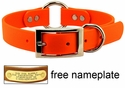 1 in. Mendota DuraSoft Orange Hunt Dog Center-Ring Dog Collar
