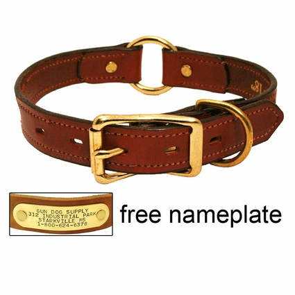 1 in. Mendota Hunt Dog Leather Center-Ring Safety Dog Collar