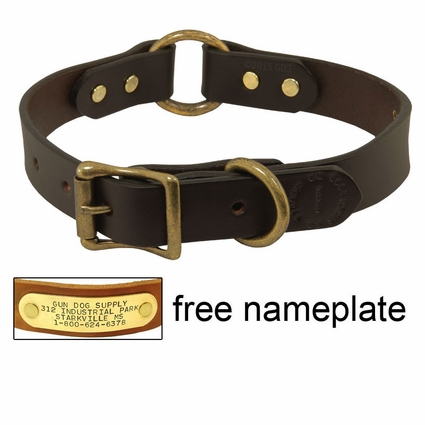 """1"""" Leather Center Ring Dog Collar by Filson"""
