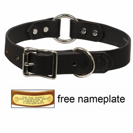 """CLEARANCE -- 1"""" Leather Center Ring Dog Collar by Filson -- BLACK"""