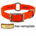 "1"" Orange Granite Center-Ring Dog Collar -- Stainless Steel Hardware"