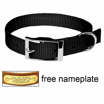 "3/4"" Black OmniPet Single Ply Stitched Nylon Collar"