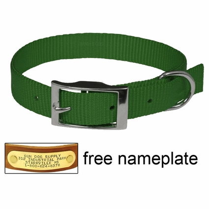 "3/4"" Green OmniPet Single Ply Stitched Nylon Collar"